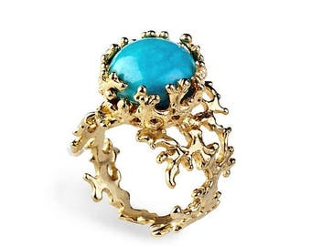 SALE 20% Off - CORAL 14k Gold Turquoise Ring, Gold  Turquoise Engagement Ring, Unique Gold Ring, Turquoise Ring Band, Birthstone Ring