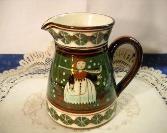 Folk Art Green Highly Glazed Hand Painted Milk Maid Pitcher Dutch Holland Potter