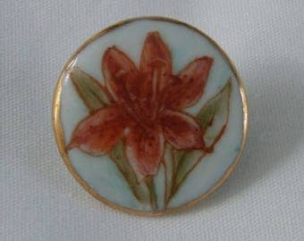 Vintage Handpainted Porcelain Button with Flower - hand painted Rusty Orange Lily Button