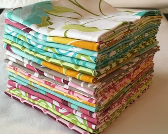 RARE Halle Rose Fat Quarter Bundle Out of Print Riley Blake Children Kids Modern ContemporaryQuilting Pink Aqua Grey Green piecesofpine