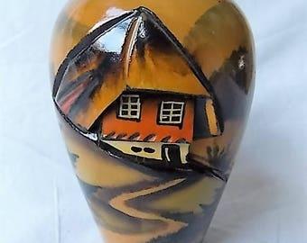 Vintage Black Forest Germany Wooden Vase Carved & Hand Painted Scene