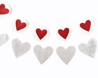 Heart Banner, Red Glitter Heart Banner, Silver Glitter Heart Banner, Valentine's Day heart Banner, Valentine Heart and Circle Banner Set