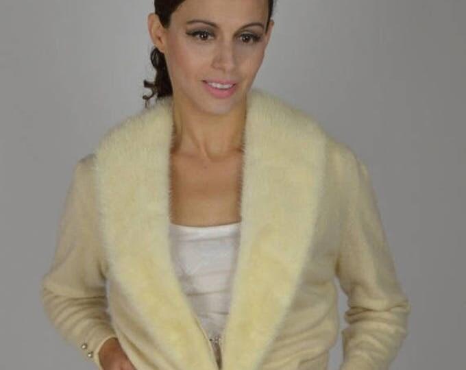 sale Vintage Cardigan Sweater, 1950's Cardigan, White Fur Sweater, Cashmere Sweater, Mink Fur Collar, Pin Up Sweater, Rockabilly Sweater,