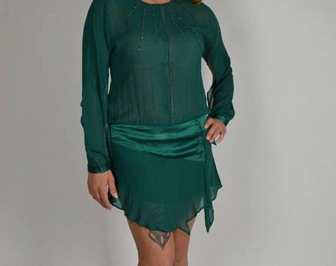 sale Flapper Style Dress, 1920s Flapper Dress, Silk Flappe, Dress, Downton Abbey Dress, Sheer Dress, Green Dress, Dropped Waist Dress, 20s P