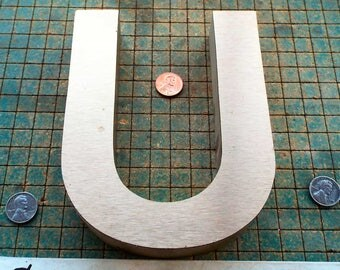 """The Letter - U - from vintage sign,  MDF  with aluminum overlay,  6 1/4"""" tall, repurpose, upcycle, recycle, reuse"""