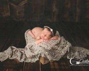 Brown Lace Newborn Girl Photography Props, Photo Prop Layers, Newborn Photo Props, Baby Girl Photo Props, Vintage Scarf Props, Brown STRIPED