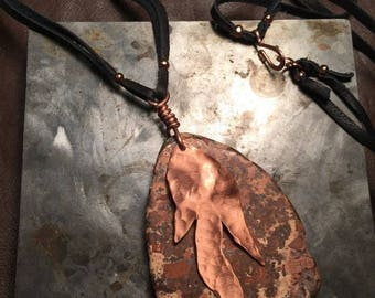 30% off Sale Copper ore pendant with copper flames on long leather necklace