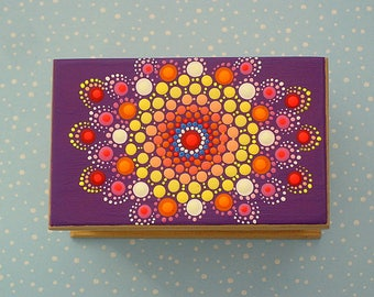 Unique OOAK 3D dot art-mandala-stash box-hand painted wood box-collecible keepsakes-aboriginal art-pointillism-3D neon glow-jewelry storage