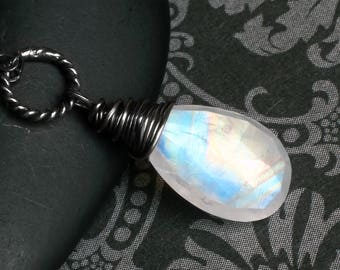 """Moonstone Necklace, Rainbow Moonstone, Oxidized Sterling Silver - """"Argent"""" by CircesHouse on Etsy"""