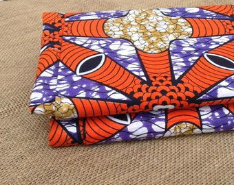 Orange African fabric, Wax print, African print, African material, African fabric,100% cotton, By the yard