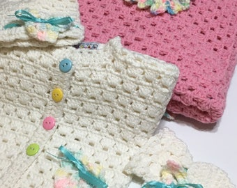 "READY TO SHIP       Handmade Crochet Baby Blanket Sweater Set ~ Multi ~ Baby Girl Shower Gift ~100% Acrylic ~ 35"" x 35"""