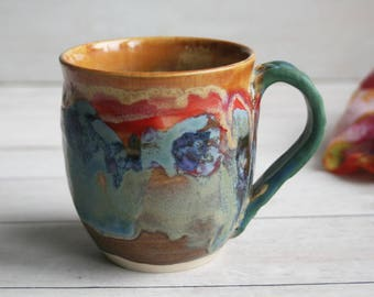 Stoneware Pottery Mug with Artful Dripping Multi Colored Glazes Handmade Coffee Cup 17 oz. Ready to Ship Made in USA