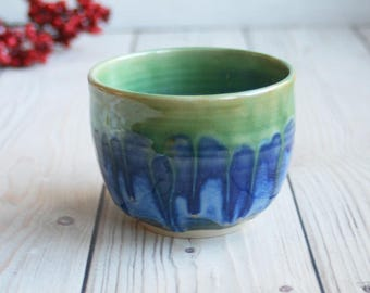 Yunomi Tea Cup Handmade Japanese Cup Stoneware with Dripping Blue and Green Glazes Ceramic Pottery Ready to Ship Made in USA