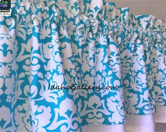 Turquoise and White Tropical Theme Double Layered Valance Kitchen Bedroom Short Curtain