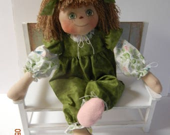 Primitive Raggedy Ann Doll Country Prim  Rompers Blouse Felt Shoes Handmade