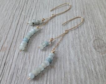 Long Natural Aquamarine and Gold Earrings
