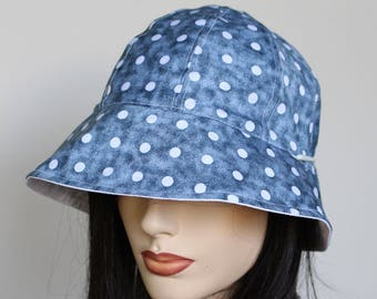 Reversible Cottage Hat cloche sun hat in blue polka dots plus adjustable fit or chinstrap great for boating