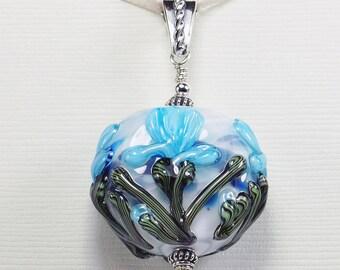 Aqua Iris Handmade Lampwork Glass Bead Sterling Silver Pendant Jewelry SRA by HallockGlass