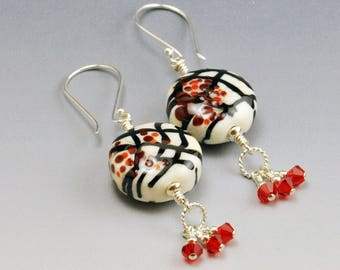 Lampwork Bead Earrings Ivory Black and Red Beads with Red Crystals Sterling Silver Jewelry Oriental Beauty SRA HallockGlass
