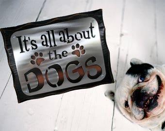 DOG CANINE SIGN- Dog lover Plaque - Fur baby - Dog mom - Dog Breeder- Vet Gift item - Metal and Wood - Rescue Pet Owner -Paw prints