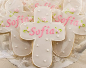 Personalized Rosebud Cross Cookies for Baptism, Communion - 55 Decorated Sugar Cookie Favors