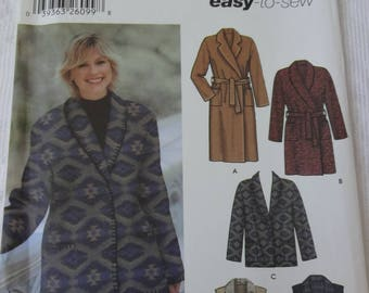 Simplicity 5855 Sewing Pattern Misses' Woman's Coat in  Two Lengths, Jacket and Vest in Two Lengths  Size M, L, XL  UNCUT