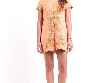 40% OFF CLEARANCE SALE The Vintage Embroidered Tangerine Shift Dress