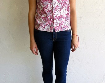 40% OFF The Vintage Pink and White Floral Hawaiian Print Shirt