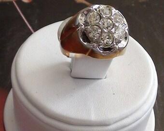 Vintage  Cluster  RING 18Kt Gold Plated over Sterling Cz  Cluster Size 8 Sparkle Glam Impressive Design Statement Ring Vargas Vermeil