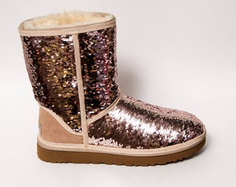 Mermaid Sequin - Rose Gold & Champagne Ugg Classic Short Fuzzy Custom Boots