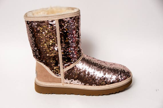 mermaid sequin rose gold champagne ugg classic short fuzzy. Black Bedroom Furniture Sets. Home Design Ideas