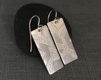 Silver Branch Earrings - Dangling Silver Earrings - Nature Earrings - Rectangle Earrings - Silver Rectangle - Silver Bar Earrings - OOAK