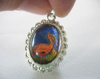 Vtg Butterfly Wing Pendant, Palm Tree, Pink Flamingo, Two-sided, Domed, Silver, 1950s, Vintage jewelry, Scalloped Edges