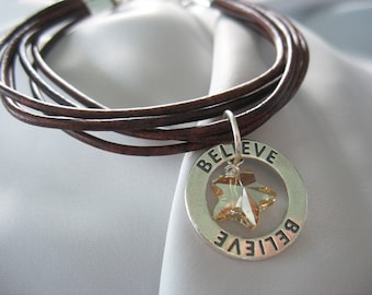 Brown Leather Bracelet, Sterling Believe Charm, Swarovski Crystal, Star, Wrap Look, Heart Clasp, Adjustable, Leather Cord, Circle Charm