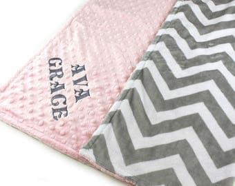 Baby Blanket/ Personalized Minky Baby Blanket Girl, Pink Gray Chevron - Girl Nursery Decor // Custom Baby Blanket / Gray Chevron Blanket