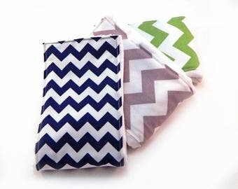 SALE Baby Burp Cloths Boy or Girl- Navy Gray Green Chevron- Set of 3 - Your Choice // Cotton Diaper Burp Cloth