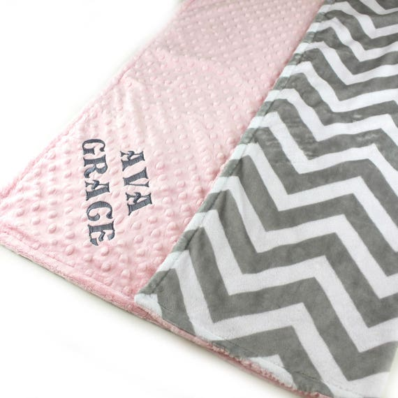 Baby Blanket/ Personalized Minky Baby Blanket Girl, Pink Gray Chevron - Girl Nursery Decor // Custom Baby Blanket / Gray Chevron Blanket