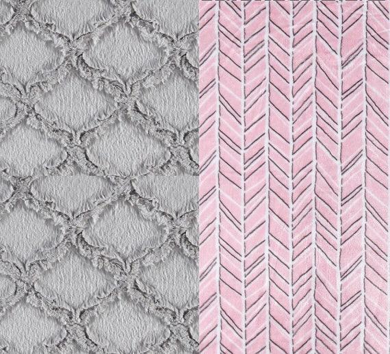 Minky Adult Blanket, Pink Gray Blanket - Minky Throw - Twin Size // Herringbone Blanket // Soft Blanket // Geometric Blanket