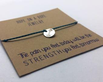Barbell Bracelet - Sterling Silver Barbell Bracelet - Cord Bracelet - Gym Bracelet - Fit Bracelet - Weightlifting Jewelry - Results Bracelet
