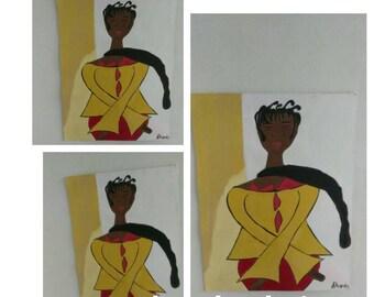 black woman art,african american art, black woman art,afrikkan art, black woman paintings, wall decor, wall art, red black  yellow