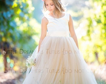 READY to SHIP - 2T - The Juliet Dress in Ivory and Champagne- Flower Girl Tutu Dress