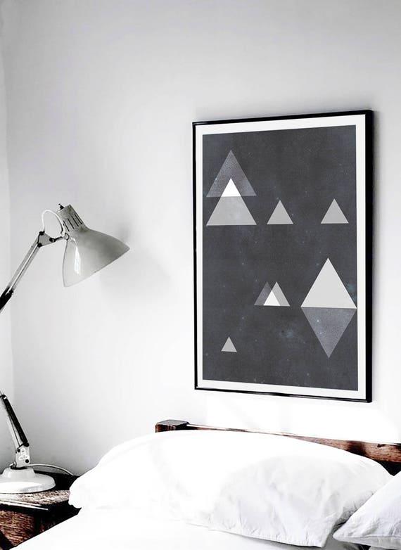 TRIANGLES ODYSSEY // Abstract poster, 18x24, minimalist art print, geometric print, mid century, Scandinavian style, triangles, black