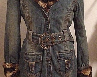 Beautiful Vintage Parasuco Belted, Ankle Length Denim Coat with Faux Fur Removable Collar and Cuffs
