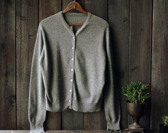 Cashmere Sweater Cardigan Wool Gray Womens Sweater Vintage From Nowvintage on Etsy