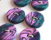 Handmade Round Buttons Teal Purple Pink 15mm