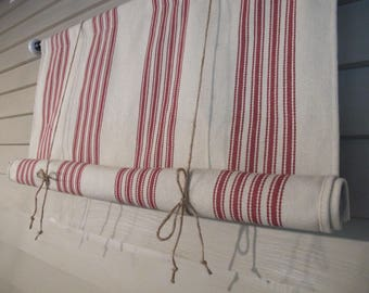 Red Cotton Woven Canvas Tie Up Shade 36 Inch Long Shade Tie Up Curtain Modern Farmhouse Swedish Roll Up Porch Blind Woven Stripes