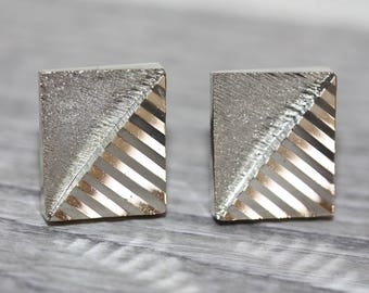 Mens vintage cuff links - silvertone