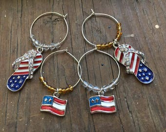 July 4th Wine Charms, Fourth of July Wine Charms, Beach Wine Charms, Beach Wedding Wine Charms, Wine Markers, Flip Flop Wine Charms,Set of 4