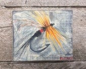 Reclaimed Wood Painting - Fly Fishing Fly - Acrylic Painting