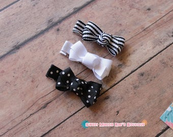Girls Hair Clips--Mini Bow Set--Black